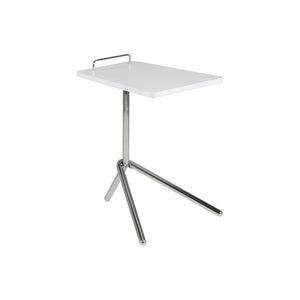 White Modern Lacquered Side Table with chrome base and handle