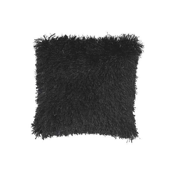 Black modern shag toss pillow