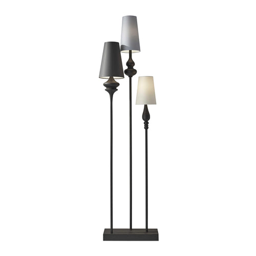 bronze modern three light floor lamp
