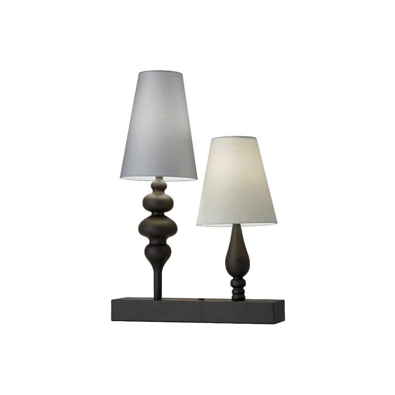 bronze modern two light table lamp