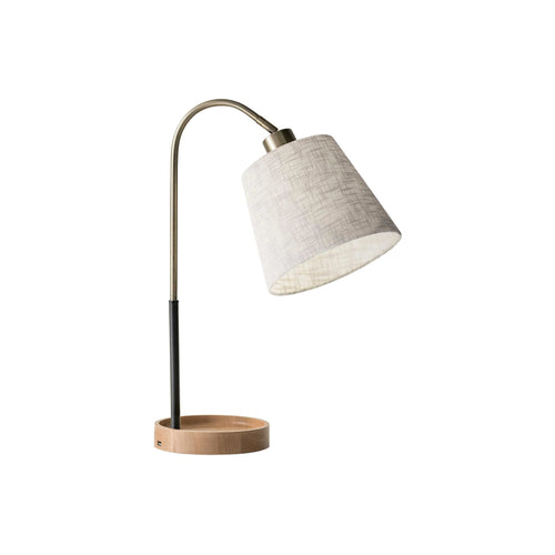 Antique brass and black modern table lamp with natural wood base, white shade and usb charging