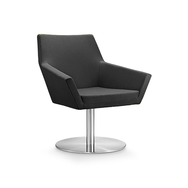 Dark grey modern fabric swivel chair with chrome base
