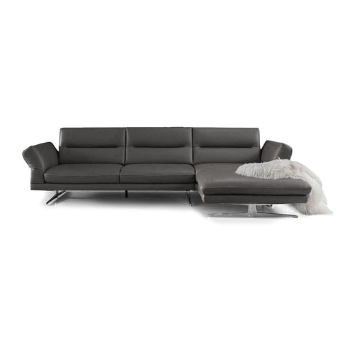 Grey modern leather sectional with metal legs