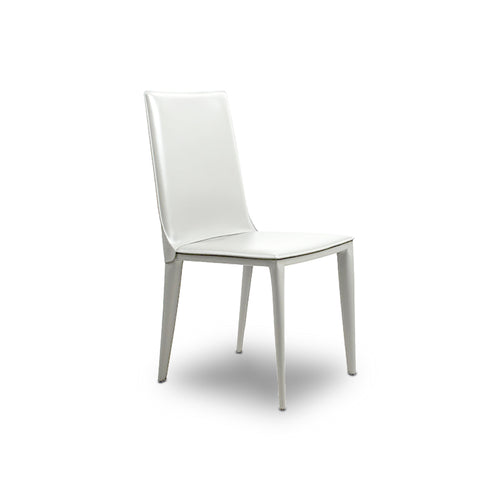 White modern leather dining chair with flexible back