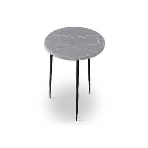Grey modern marble end table with iron legs