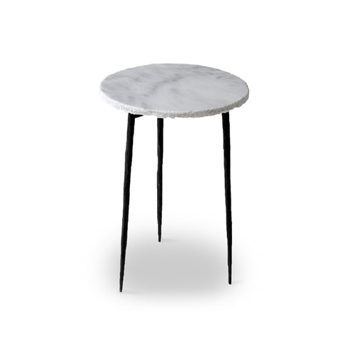 White modern marble end table with iron legs