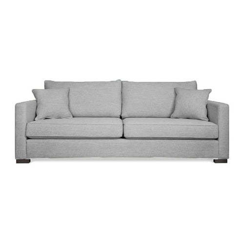modern stone grey fabric sofa with 2 toss cushions