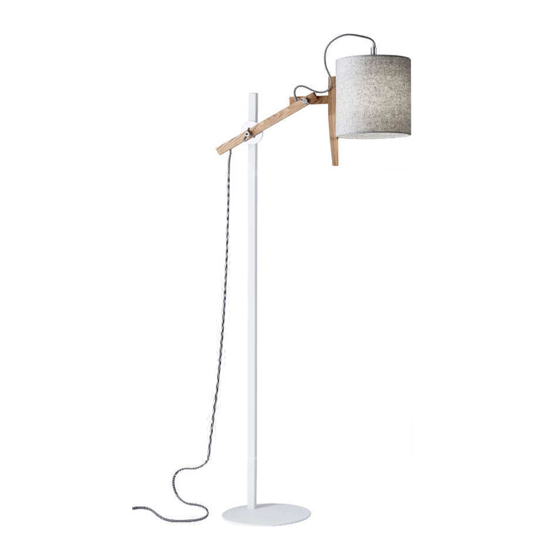 Natural wood and white metal modern adjustable floor lamp