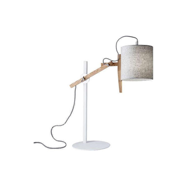 Natural wood and white metal modern adjustable table lamp