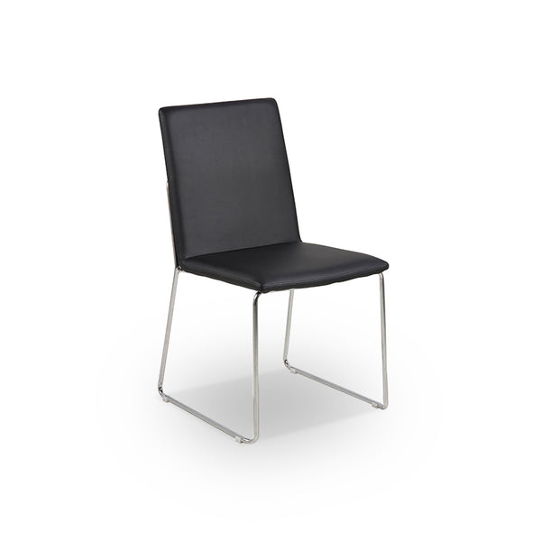 Black modern PU dining chair with chrome base