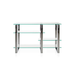 Modern Glass Sofa Table with 4 Glass Shelves in varied postions with Chrome Base