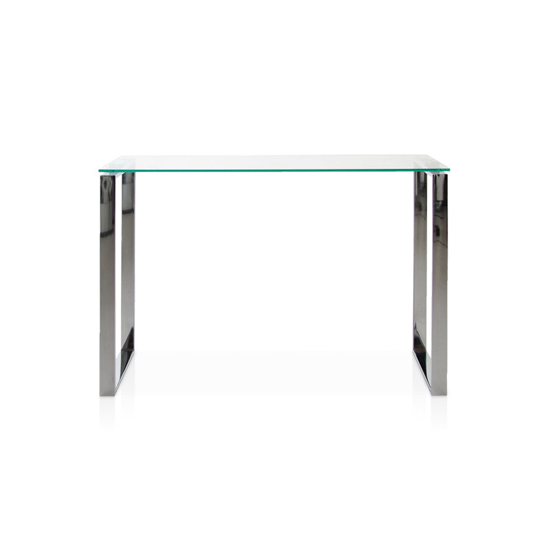 Modern glass console table with chrome u legs