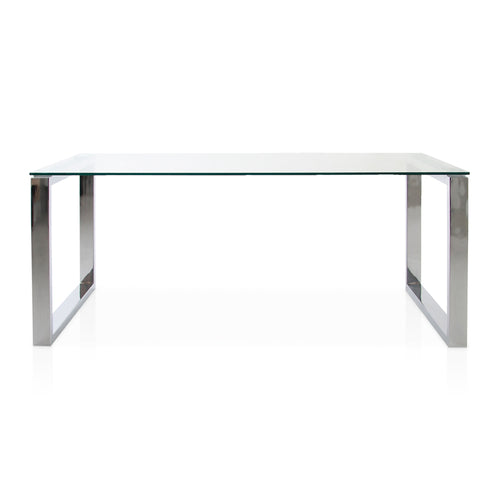 Modern Rectangular glass dining table with chrome U Legs