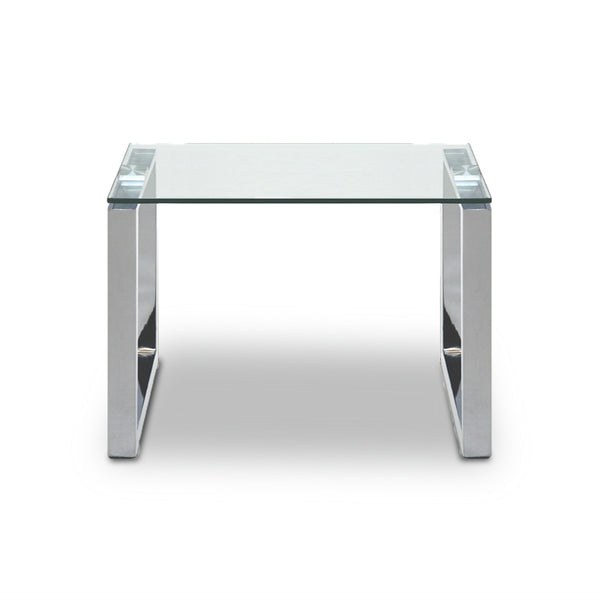 Modern Square glass  end table with chrome U Legs