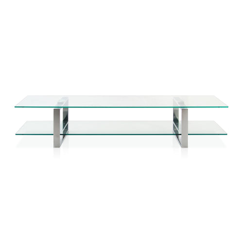 Modern low rectangular glass tv table with chrome U supports