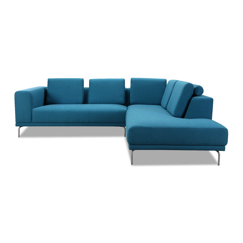 Modern Teal Blue Fabric Sectional Left Hand Facing with Chrome Leg