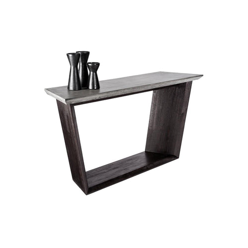 Modern concrete console table with acacia wood base