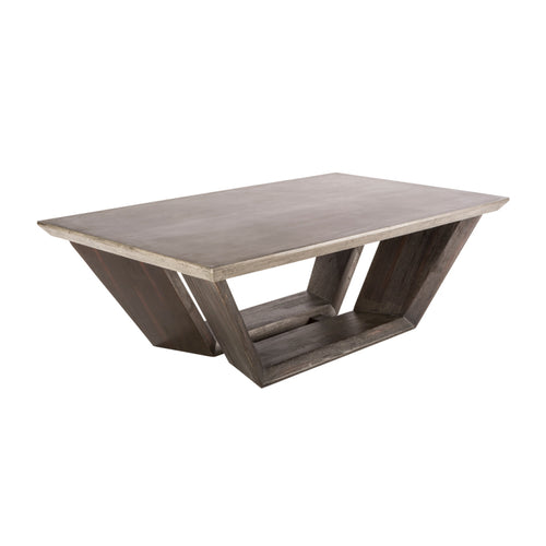 Modern concrete coffee table with acacia wood base