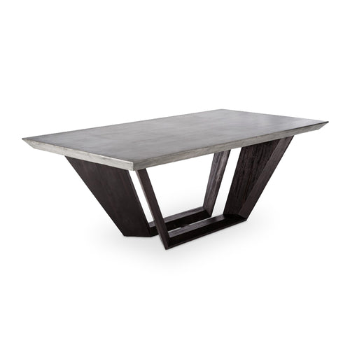 Modern concrete dining table with acacia wood base