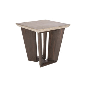 Modern concrete end table with acacia wood base