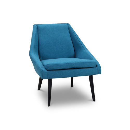 Modern Mid Century Blue Fabric Occasional Chair with Angled Leg