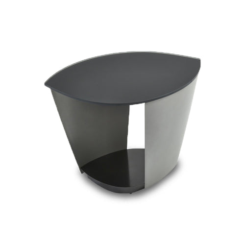 metal and glass modern end table with hidden wheels