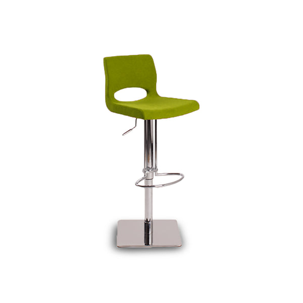 Green modern fabric bar stool with adjustable chrome base