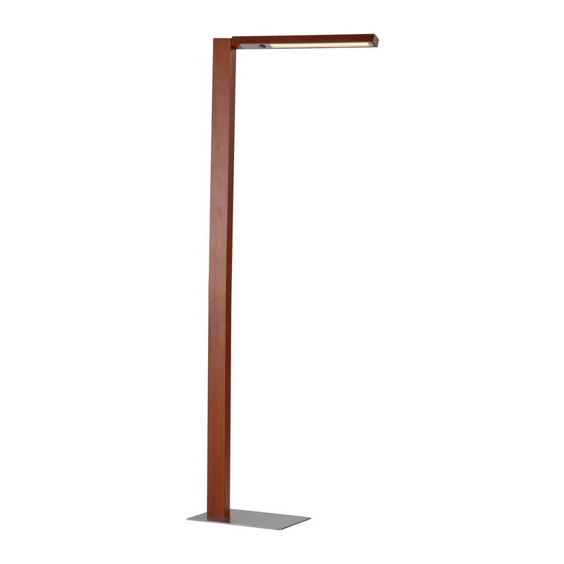 Walnut and steel modern floor lamp with rotating shade arm