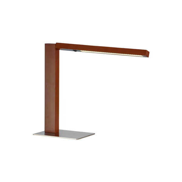 Walnut and steel modern table lamp with rotating shade arm