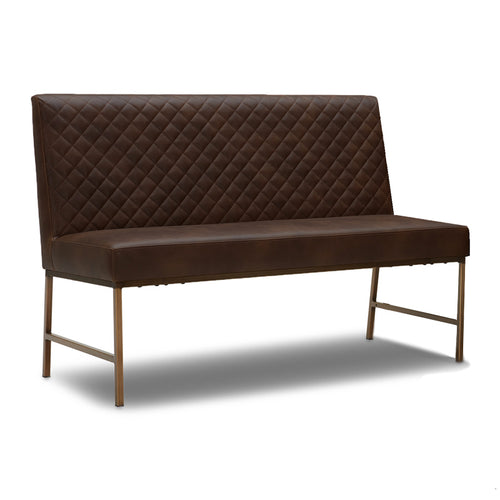Modern Quilted Mottled Cocoa Brown Bonded Leather Upright Bench with Antique Brass Leg