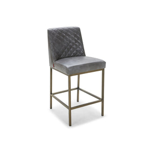 Modern Quilted Mottled Cocoa Brown Bonded Leather Counter Height Bar Stool  with Antique Brass Leg