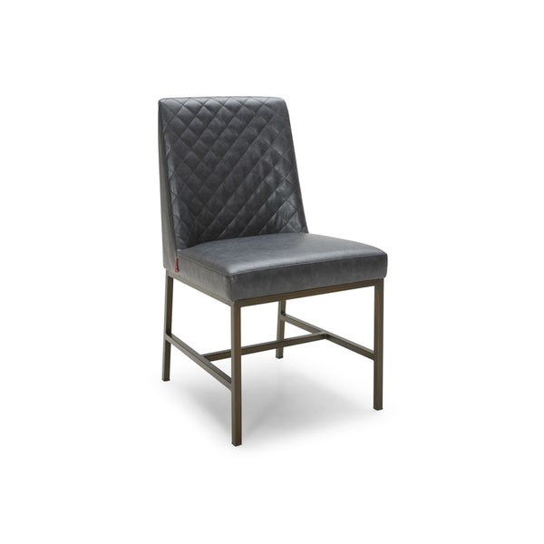Modern Quilted Mottled Cocoa Brown Bonded Leather Dining Chair with Antique Brass Leg
