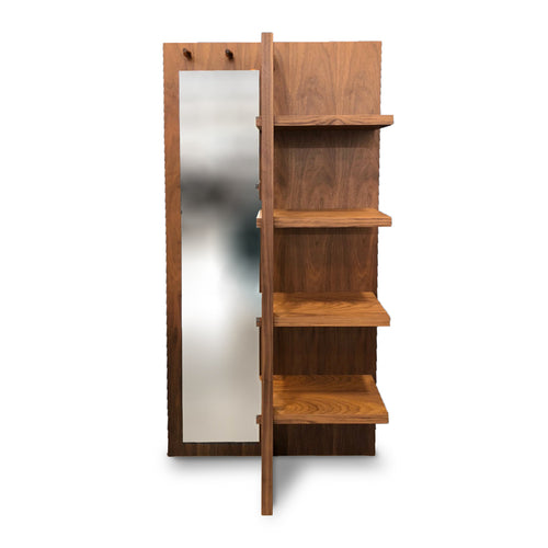 Modern walnut veneer bookcase with full length mirror