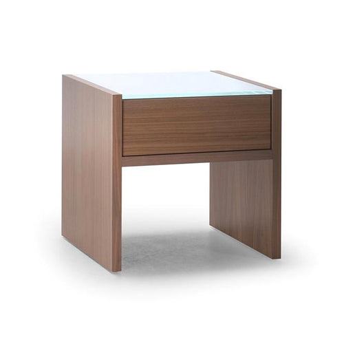 Oak modern night table with glass top