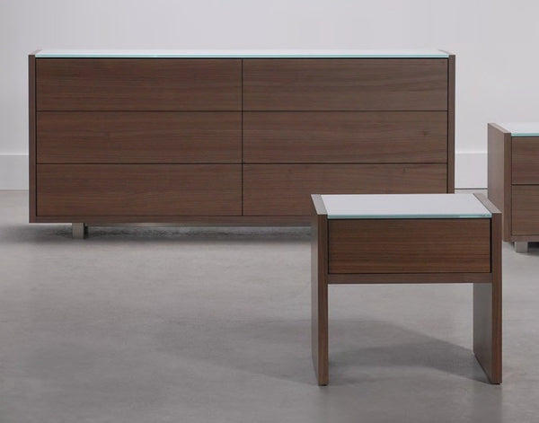 Oak modern double dresser with glass top and metal legs