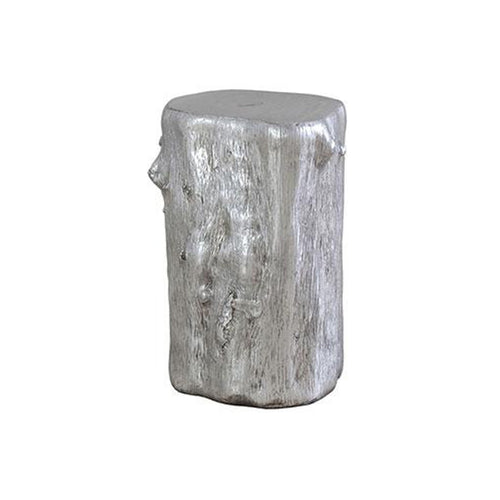 Silver modern metal ends table tree trunk