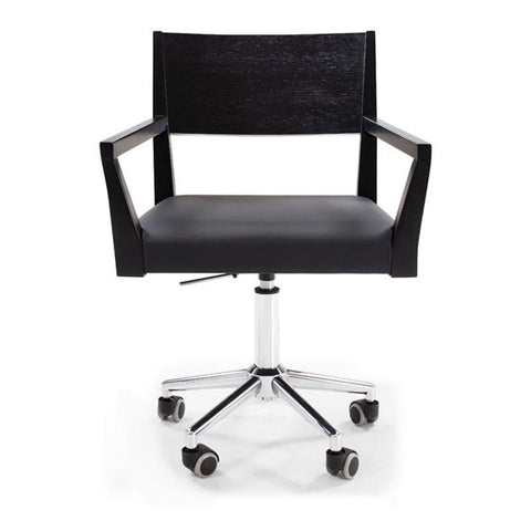 Black modern leatherette office chair with wood arms and backrest