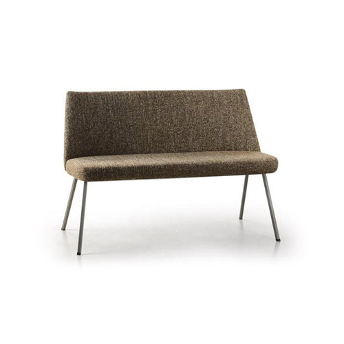 Brown modern upholstered bench with metal legs