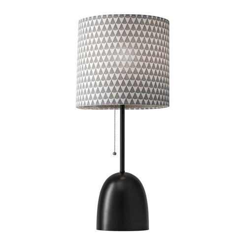 Modern table lamp with black and white shade and black dome base