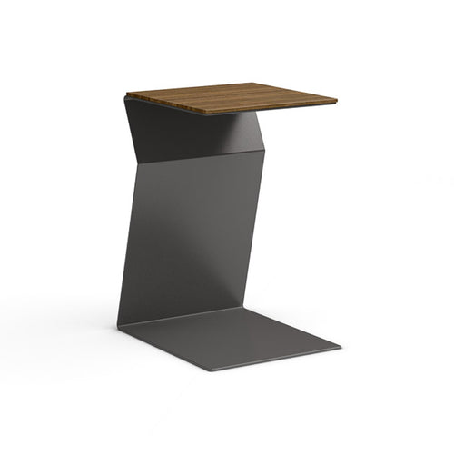 walnut modern end table with metal base