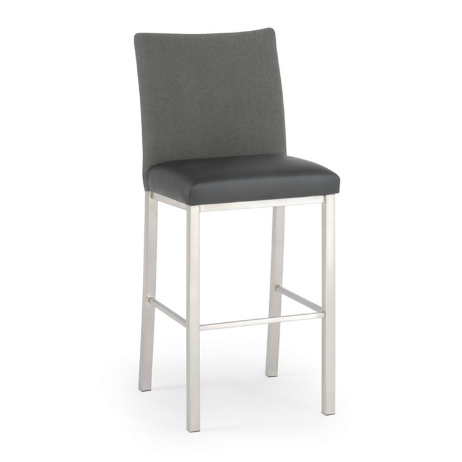 Grey modern upholstered counter stool with brushed metal legs