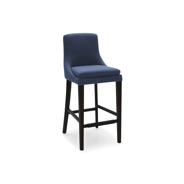 Modern Dark Blue upholstered counter stool with dark wood legs