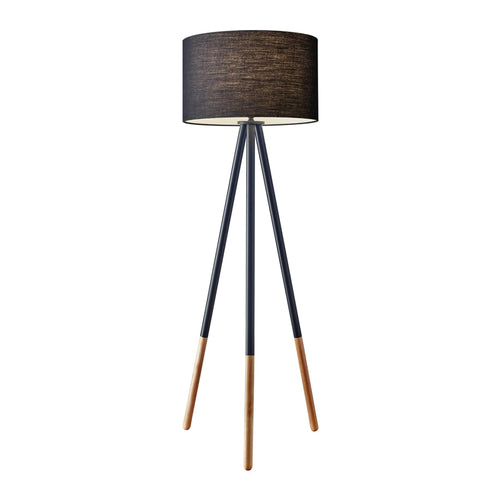 Black metal modern tripod floor lamp with drum shade and rubberwood tips