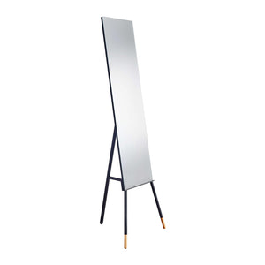 modern upright mirror on black metal tripod stand with rubberwood feet