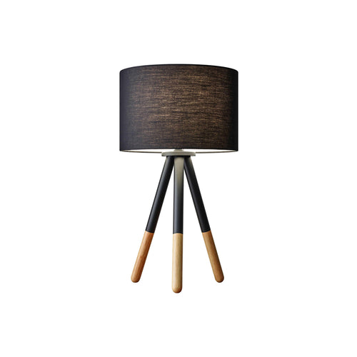 Black metal modern tripod table lamp with drum shade and rubberwood tips