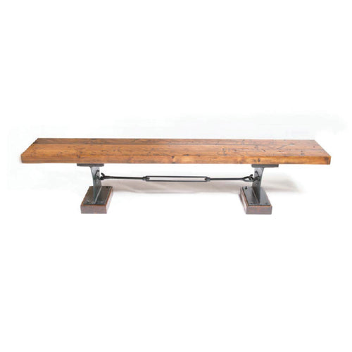 Modern distressed pine bench with metal base