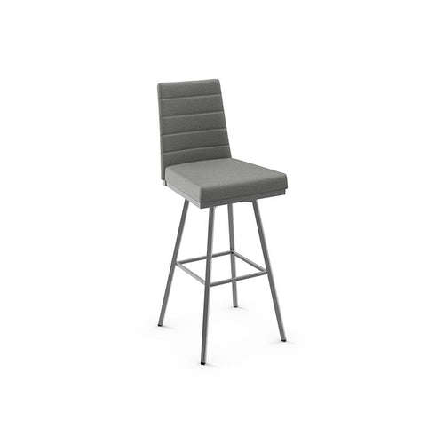 Grey modern upholstered swivel stool with metal base