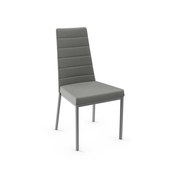Grey modern fabric dining chair with metal base