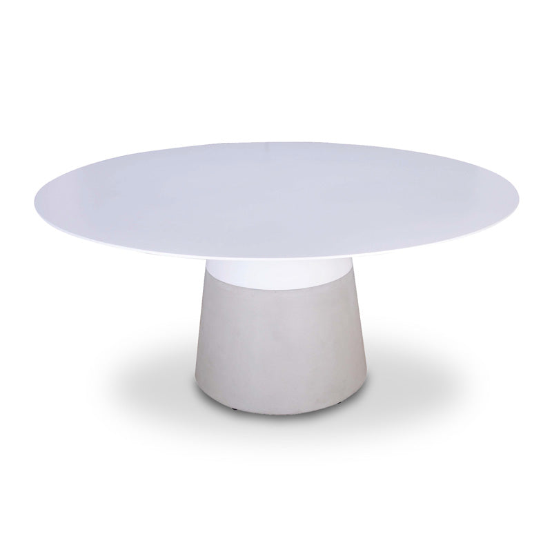 White modern dining table with grey concrete base