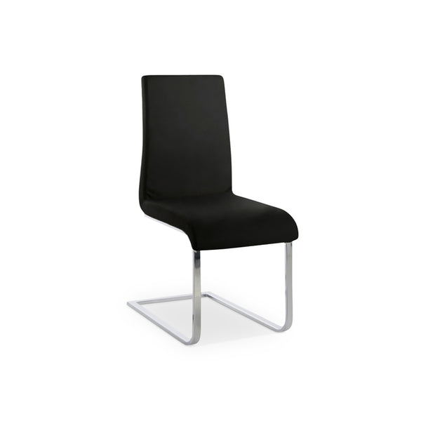 Black modern faux leather dining chair with chrome base
